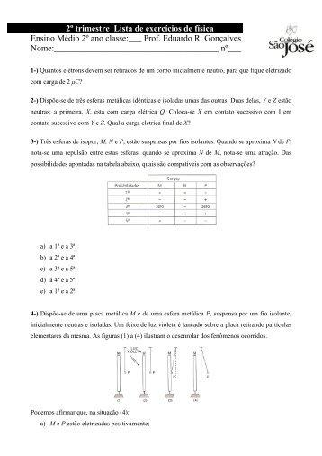 2º trimestre Lista de exercícios de física Ensino Médio 2º ano classe ...