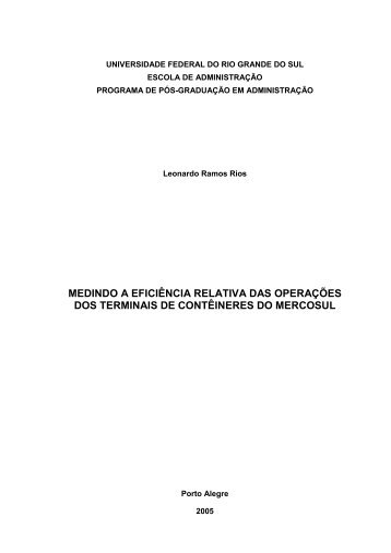 MEDINDO A EFICIÊNCIA RELATIVA DAS OPERAÇÕES DOS ...