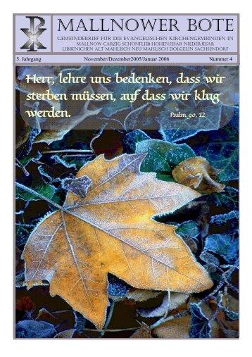 November - Evangelisches Pfarramt Mallnow