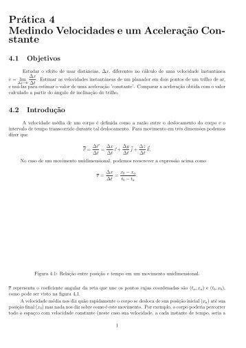 Prática 4 Medindo Velocidades e um Aceleraç˜ao Con ... - IF/UERJ