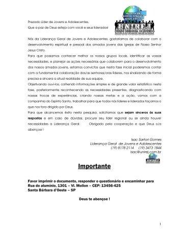 Questionário da Liderança Geral de Jovens e Adolescentes - UNIREJ