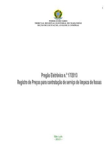 PREGÃO ELETRÔNICO 17 - Serviço de Limpeza de Fossas - SRP