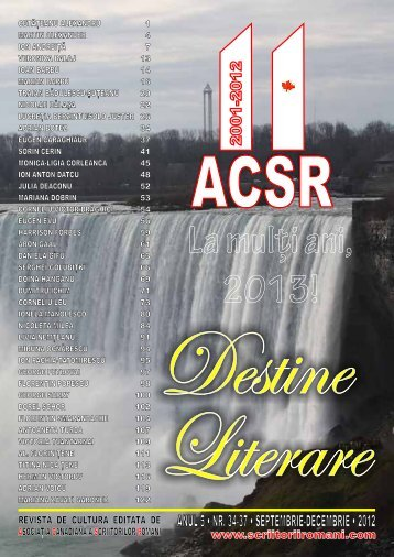 Destine Literare nr. 23 - septembrie - decembrie 2012 - Scriitorii ...