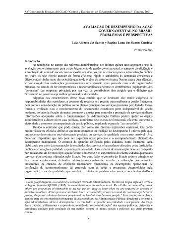 avaliação de desempenho da ação governamental no brasil - CLAD