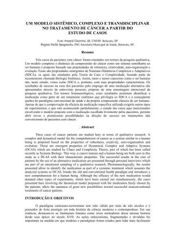 Um modelo sistêmico, complexo e transdisciplinar no tratamento
