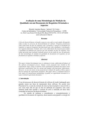 Avaliação de uma Metodologia de Medição da Qualidade em ... - WER