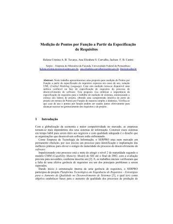 Medição de Pontos por Função a Partir da Especificação de ... - WER