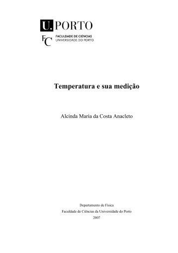 Temperatura e sua medição - Universidade do Porto