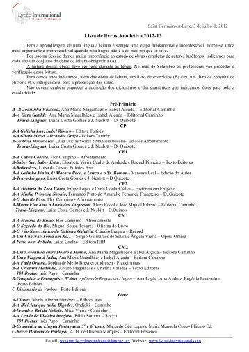 Lista de livros Ano letivo 2012-13 - Sectionportugaise.com