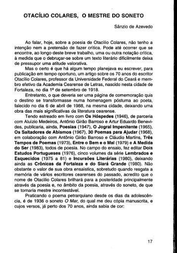 Otacílio Colares, O Mestre do Soneto - Sânzio de - Portal da História ...