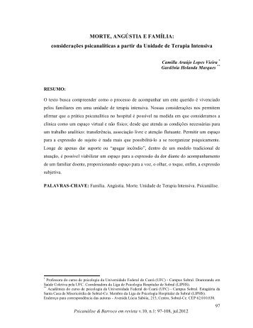 MORTE, ANGÚSTIA E FAMÍLIA - Psicanálise & Barroco