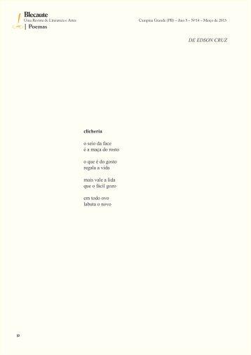 Clicheria e outros poemas, Por Edson Cruz (SP/BA) - Revista Blecaute