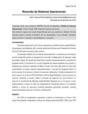 Resumão de Sistemas Operacionais - AdonaiMedrado.Pro.Br