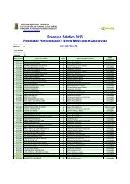 Resultado Homologação - CCHLA - Universidade Federal da Paraíba