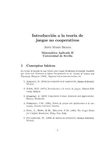 Introducción a la teoría de juegos no cooperativos - Universidad de ...