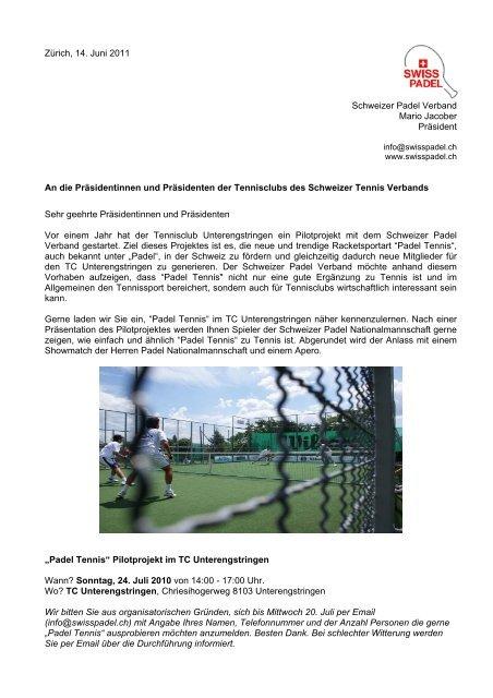 Infoschreiben von Swiss Padel - Zürich Tennis