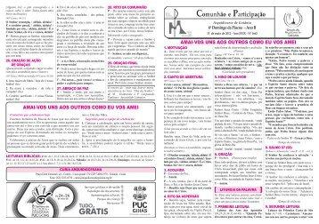 Folheto 13 de maio de 2012 (6º Domingo de Páscoa) - Arquidiocese ...