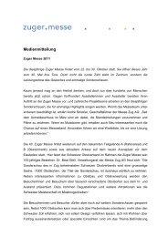 Medienmitteilung vom 21. Mai 2011 - Zuger Messe
