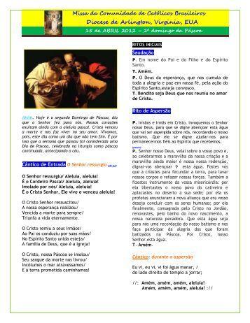 Folheto da Missa para Domingo, 15 de Abril 2012 - Fontecatolica.com