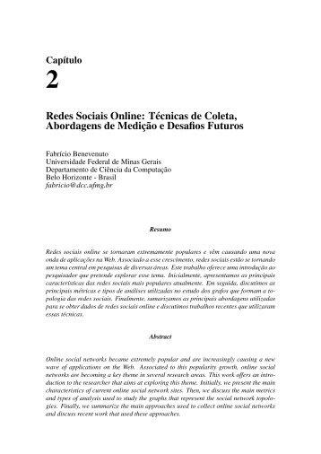 Redes Sociais Online: Técnicas de Coleta, Abordagens de Medição ...