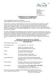 Einladung zum Tennisplausch Präsidentencup ... - Zürich Tennis