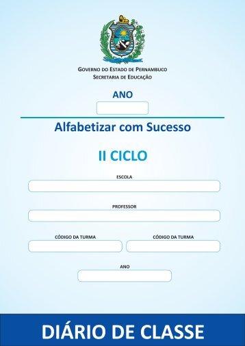 Diário de Classe   II Ciclo - Secretaria de Educação de Pernambuco