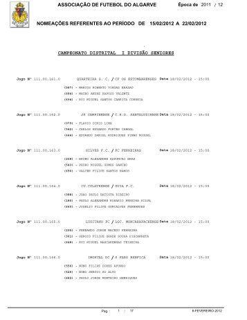 associação de futebol do algarve nomeações ... - AF Algarve