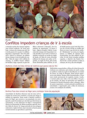 Conflitos impedem crianças de ir à escola - Fátima Missionária