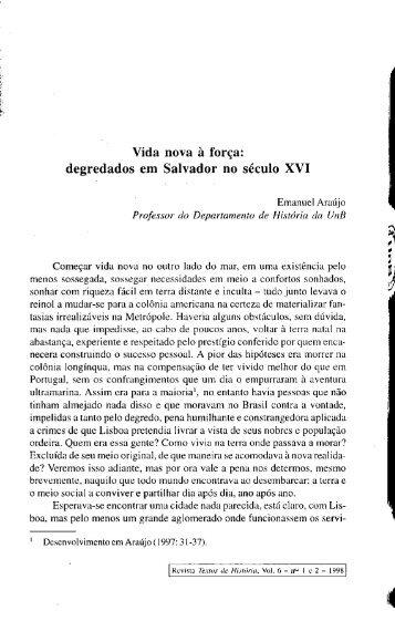 Vida nova à força: degredados em Salvador no século XVI