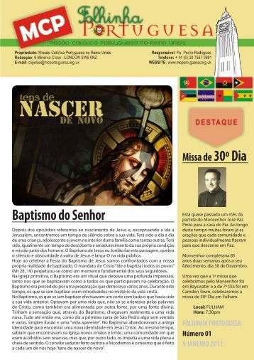 Baptismo do Senhor - Missão Católica Portuguesa