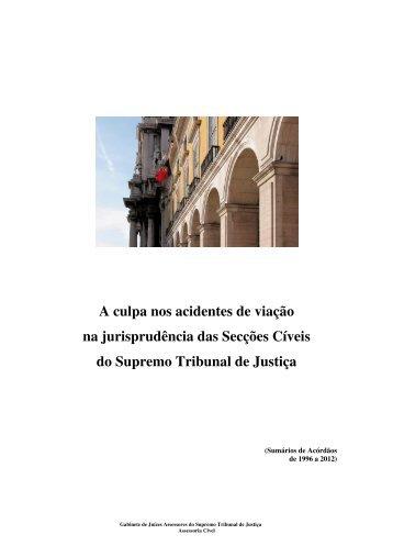 A culpa nos acidentes de viação na jurisprudência das Secções ...