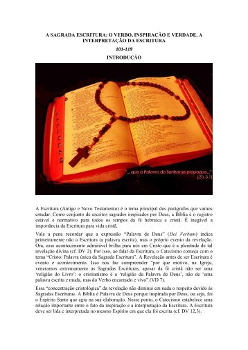 A SAGRADA ESCRITURA: O VERBO, INSPIRAÇÃO E VERDADE, A ...