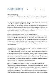 Medienmitteilung vom 16. September 2010 - Zuger Messe