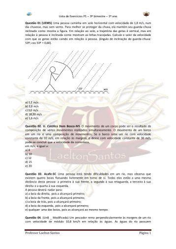 Lista de Exercícios P1 – 3º bimestre – 1º ano Professor ... - ALUB
