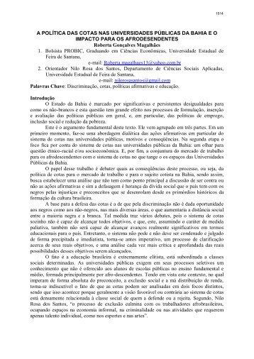 a política das cotas nas universidades públicas da bahia e o ...