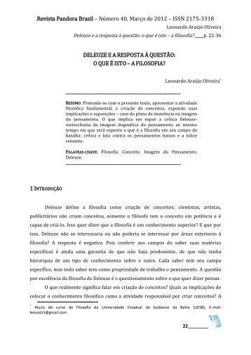 o que é isto – a filosofia? Leonardo Araújo Oliveira - revista pandora ...
