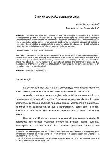 ÉTICA NA EDUCAÇÃO CONTEMPORÂNEA Karina Beatriz ... - UFTM