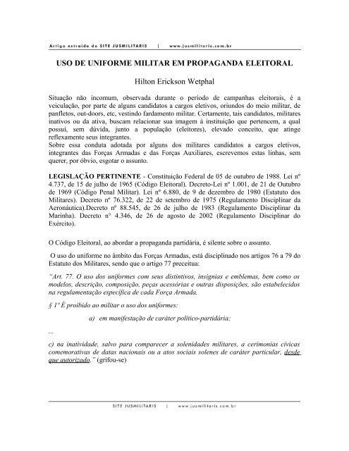 Uso de Uniforme Militar em Propaganda Eleitoral - JusMilitaris.com.br 2df6da7bbb188