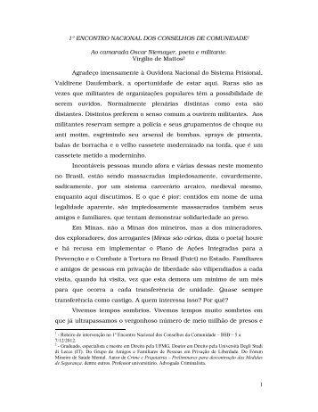 Texto para 1º Encontro Nacional dos Conselhos de Comunidade