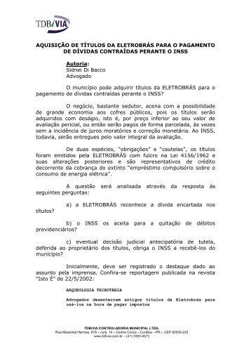 Aquisição de títulos da Eletrobrás para o ... - Tdbvia.com.br