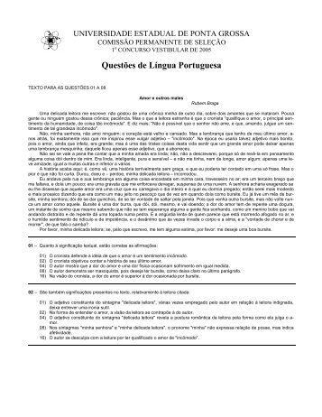 Questões de Língua Portuguesa - CNEC On Line