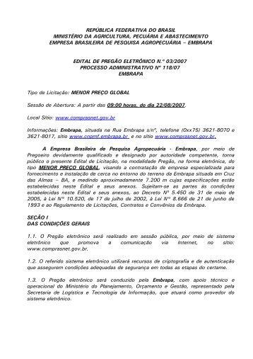 Pregão Eletrônico 003/2007 Edital nº 003/2007 referente à