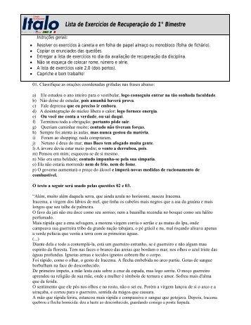 Lista de Exercícios de Recuperação do 1° Bimestre