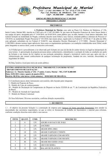 EDITAL DE PREGÃO PRESENCIAL Nº 101/2010 PROCESSO Nº ...
