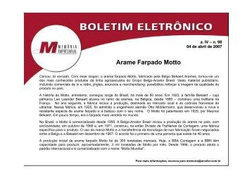 Boletim 98 - Arame Farpado Motto - Fundação ArcelorMittal Brasil