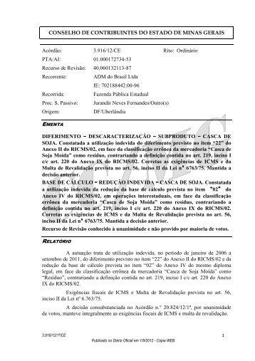 3916 - Secretaria de Estado de Fazenda de Minas Gerais