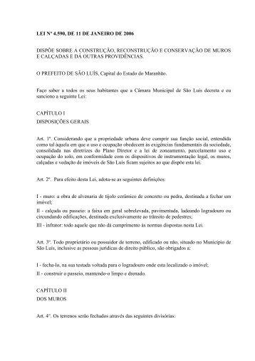 LEI Nº 4.590, DE 11 DE JANEIRO DE 2006 DISPÕE SOBRE A ...