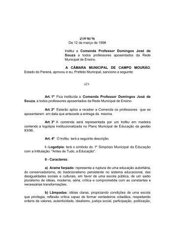 De 12 de março de 1996 Institui a Comenda Professor Domingos ...
