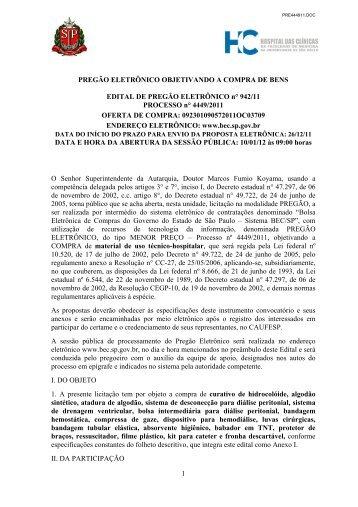 Consulta edital na íntegra - Hospital das Clínicas - USP