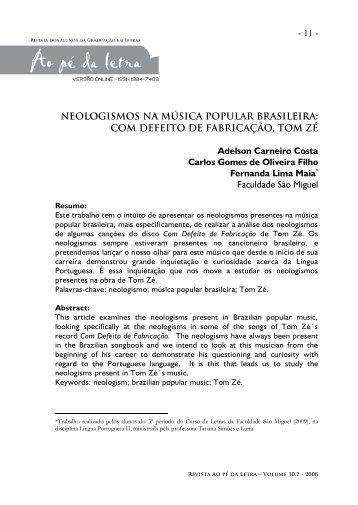 - 11 - NEOLOGISMOS NA MÚSICA POPULAR BRASILEIRA: COM ...